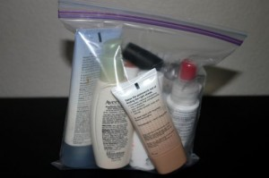 A 3-1-1 baggie with regulation-sized toiletries.